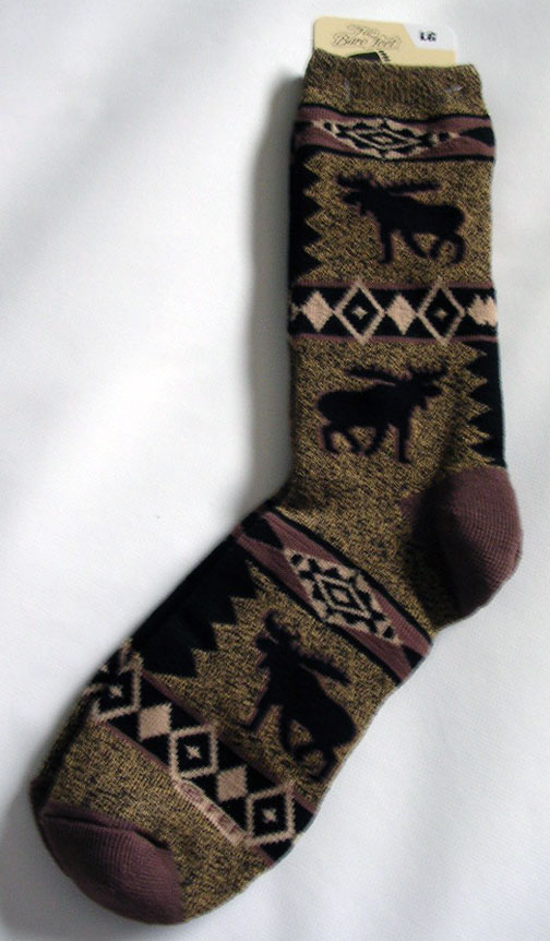 Thick Brown and Black Blanket Design Socks - Large