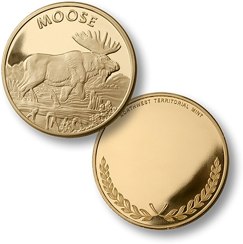 Polished Brass Moose Challenge Coin