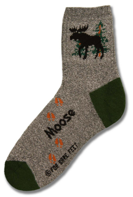 Gray with Green Heels Moose Sock - Large