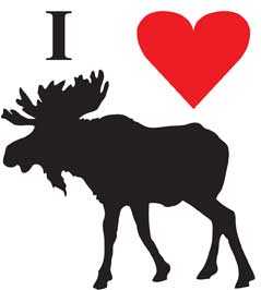 I Love Moose Bumper Sticker