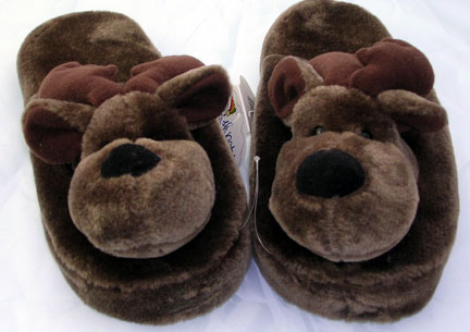 Plush Moose Adult Slippers - Brown